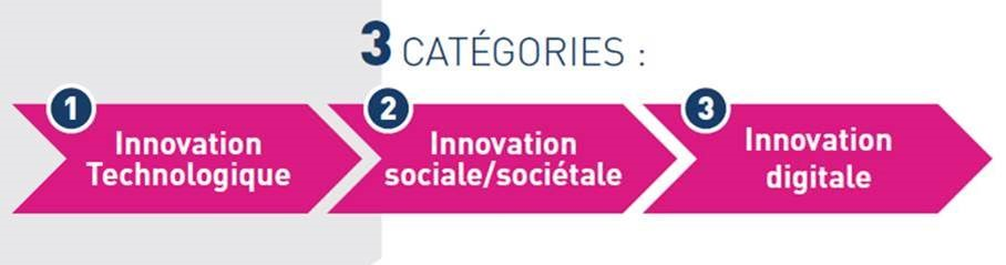 3 catégories : 1 innovation technologique 2 innovation sociale/sociétale 3 innovation