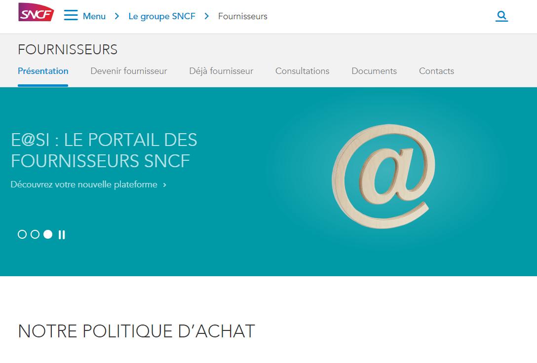 E@SI Portail des fournisseurs SNCF